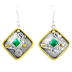 4.21cts victorian natural green malachite silver two tone dangle earrings p26610