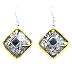 4.36cts victorian natural black onyx 925 silver two tone dangle earrings p26611