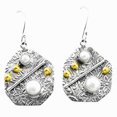 5.07cts victorian natural white pearl 925 silver two tone dangle earrings p26612