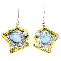 4.48cts victorian natural rainbow moonstone 925 silver two tone earrings p26617
