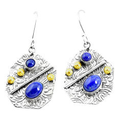 6.15cts victorian natural blue lapis lazuli 925 silver two tone earrings p26627