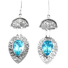 925 sterling silver 10.53cts natural blue topaz dangle earrings jewelry p26629
