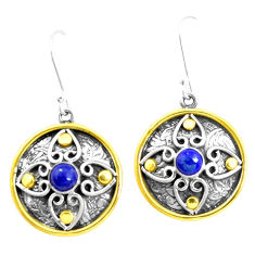 1.82cts victorian natural blue lapis lazuli 925 silver two tone earrings p26641