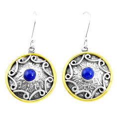 925 silver 1.82cts victorian natural blue lapis lazuli two tone earrings p26644