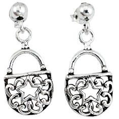 Indonesian bali style solid 925 silver sexy purse earrings jewelry p2666