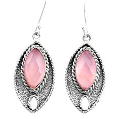 13.87cts natural pink rose quartz 925 sterling silver dangle earrings p26684