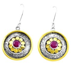 925 silver 1.82cts victorian natural red ruby two tone dangle earrings p26686