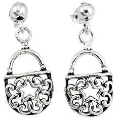 Indonesian bali style solid 925 silver sexy purse earrings jewelry p2669