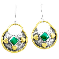 3.88cts victorian natural green malachite 925 silver two tone earrings p26704