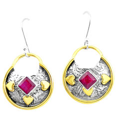 925 silver 3.53cts victorian natural red ruby two tone dangle earrings p26705