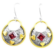 3.53cts victorian natural red garnet 925 silver two tone dangle earrings p26710