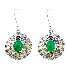 5.01cts victorian natural green chalcedony 925 silver two tone earrings p26726