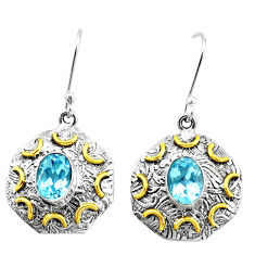 4.71cts victorian natural blue topaz 925 silver two tone dangle earrings p26730