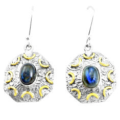 Victorian natural blue labradorite 925 silver two tone dangle earrings p26734