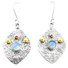 1.61cts victorian natural blue labradorite 925 silver two tone earrings p26755