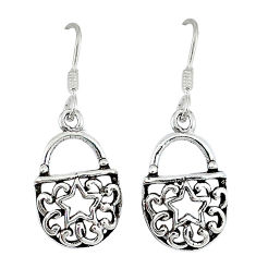 Indonesian bali style solid 925 silver sexy purse earrings jewelry p2679