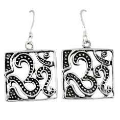 Indonesian bali style solid 925 sterling silver dangle om symbol earrings p2687