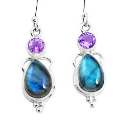 11.19cts natural blue labradorite amethyst 925 silver dangle earrings p26873
