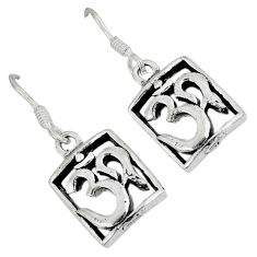 Indonesian bali style solid 925 sterling silver dangle om symbol earrings p2695