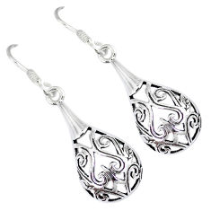 925 sterling silver indonesian bali style solid dangle designer earrings p2710