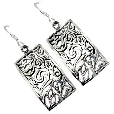 Indonesian bali style solid 925 silver dangle long designer earrings p2715