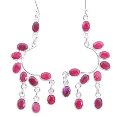 17.55cts natural red ruby 925 sterling silver chandelier earrings jewelry p27227