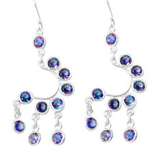 13.71cts multicolor rainbow topaz 925 sterling silver chandelier earrings p27231