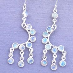 925 silver 12.36cts natural rainbow moonstone chandelier earrings jewelry p27238