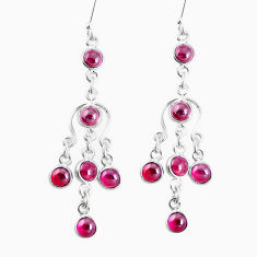 9.72cts natural red garnet 925 sterling silver chandelier earrings p27241
