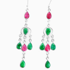 19.68cts natural red ruby emerald 925 sterling silver chandelier earrings p27250