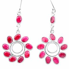 925 sterling silver 19.68cts natural red ruby chandelier earrings jewelry p27252