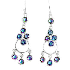 13.73cts multicolor rainbow topaz 925 sterling silver chandelier earrings p27272