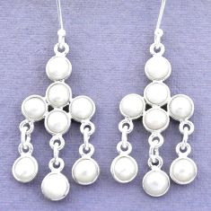 15.55cts natural white pearl 925 sterling silver chandelier earrings p27276
