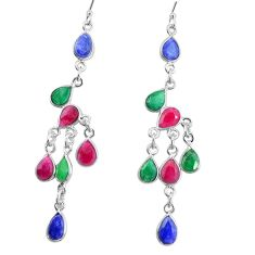 925 silver 16.73cts natural red ruby emerald sapphire chandelier earrings p27307