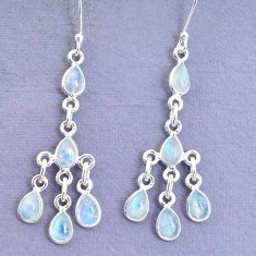 925 silver 10.65cts natural rainbow moonstone chandelier earrings jewelry p27320