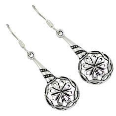 Indonesian bali style solid 925 sterling silver dangle flower earrings p2734