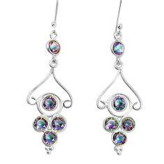925 sterling silver 7.56cts multi color rainbow topaz chandelier earrings p27345