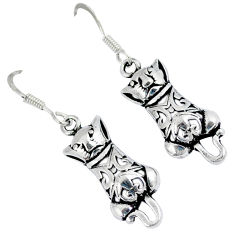 Indonesian bali style solid 925 sterling silver cat charm earrings p2735