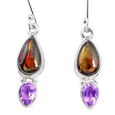 9.47cts natural multi color ammolite amethyst 925 silver dangle earrings p27382