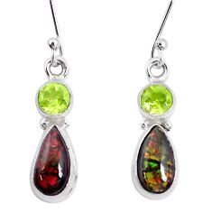 7.33cts natural multi color ammolite peridot 925 silver dangle earrings p27385