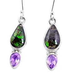 9.85cts natural multi color ammolite amethyst 925 silver dangle earrings p27392