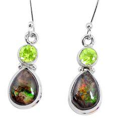9.47cts natural multi color ammolite peridot 925 silver dangle earrings p27398