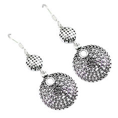 Indonesian bali style solid 925 silver dangle designer charm earrings p2751