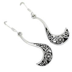 Indonesian bali style solid 925 sterling silver dangle flower earrings p2767