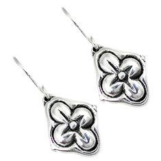 Indonesian bali style solid 925 sterling silver dangle flower earrings p2796