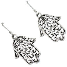 Indonesian bali style solid 925 silver hand of god hamsa earrings jewelry p2825