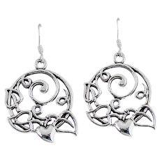 Indonesian bali style solid 925 silver dangle heart charm earrings p2832
