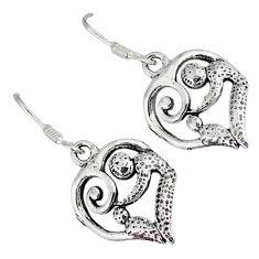 Indonesian bali style solid 925 silver dangle heart charm earrings p2834