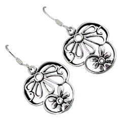Indonesian bali style solid 925 sterling silver dangle flower earrings p2838