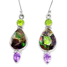 925 silver 19.00cts natural multi color ammolite triplets dangle earrings p28578